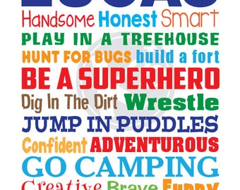 Personalized Boys Rules Subway Art, Digital Print