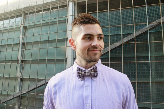 Bow tie unisex >> Purple, cream bow, leather strap, buckle >> Brisbane