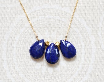 lapis lazuli trio drop necklace  /// delicate layering necklace /// royal blue lapis lazuli jewelry
