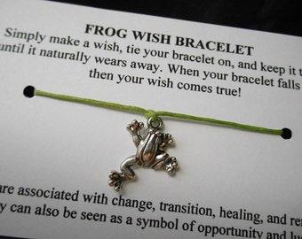 Frog Wish Bracelet - Wish Bracelet - Frog Bracelet - Party Favor - Wishing Bracelet - Frog Charm Bracelet - Gift - Get Well Soon - New Job
