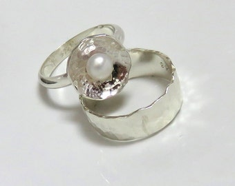 Silver Engagement Set - Pearl-in-a-Cup Ring and Repousse Wedding Band
