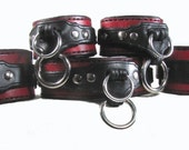 Leather BDSM Cuffs, Leather  Bondage Cuffs, Leather Slave Collar, Submissive Restraints, Dual Ring