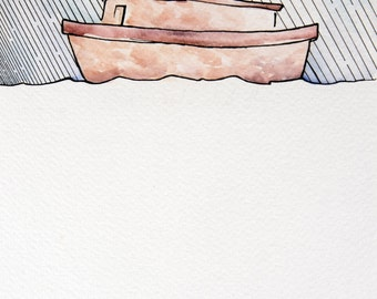 Genesis Chapter 6 - Noah Did This Watercolor 6x9 Illustration Print