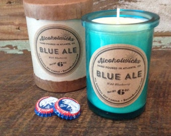 Blue Ale candle by Alcoholwicks - Wild Blueberry Candle