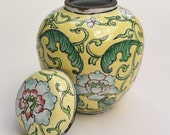 Vintage Asian Floral Yellow Cloisonne Vase Container Collectible