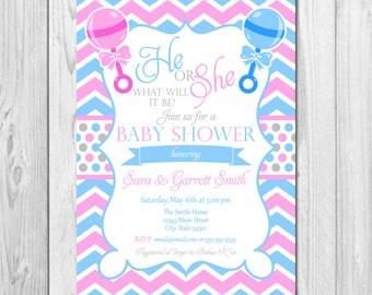 Gender reveal invite | Etsy
