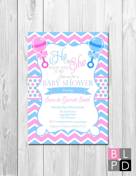 He or She Baby Shower Invitation - Gender Unknown - Large ...