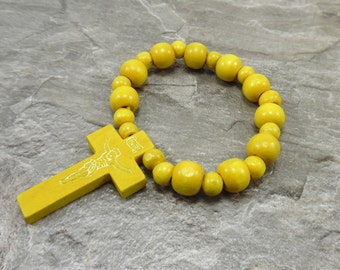 Yellow Cross Bracelet - Yellow Wood Bracelet - Yellow Bracelet - Yellow Wood Beads