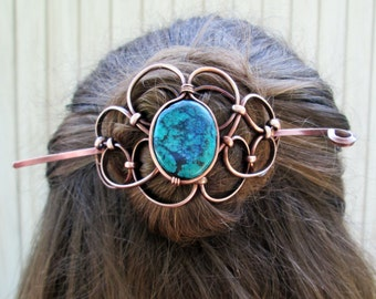 Copper Hairpiece with Stick, with Genuine Turquoise, Buns and Updos