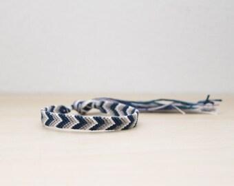 Friendship Bracelet Chevron Teal Navy Grey and White Ombre Thread Bracelet Mens Gift Stocking Stuffer