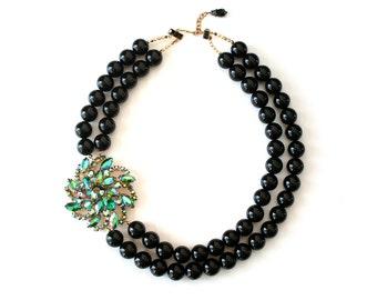 Black Wedding Jewelry Statement Necklace Vintage Rhinestone Brooch Teal Aqua Multi Strand Black Onyx Gemstone Beads Lillian Fine Jewelry