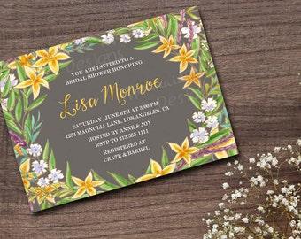 Floral Bridal Shower Invitation, Rustic Shower Invitation, Wedding Shower, Baby Shower, Engagement, Yellow Gray, Printable - Lisa