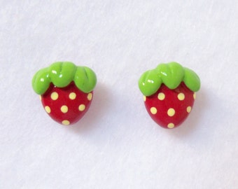 Sweet Red Strawberry Earrings - Polymer Clay Post Earrings - Nickel Free, Lead Free, Silver Plated Posts