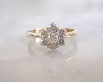 Diamond Ring- .50 carats Diamond Engagement, Anniversary, Wedding or Right Hand Daisy Cluster Ring -Size 6 1/2 and easy to re-size