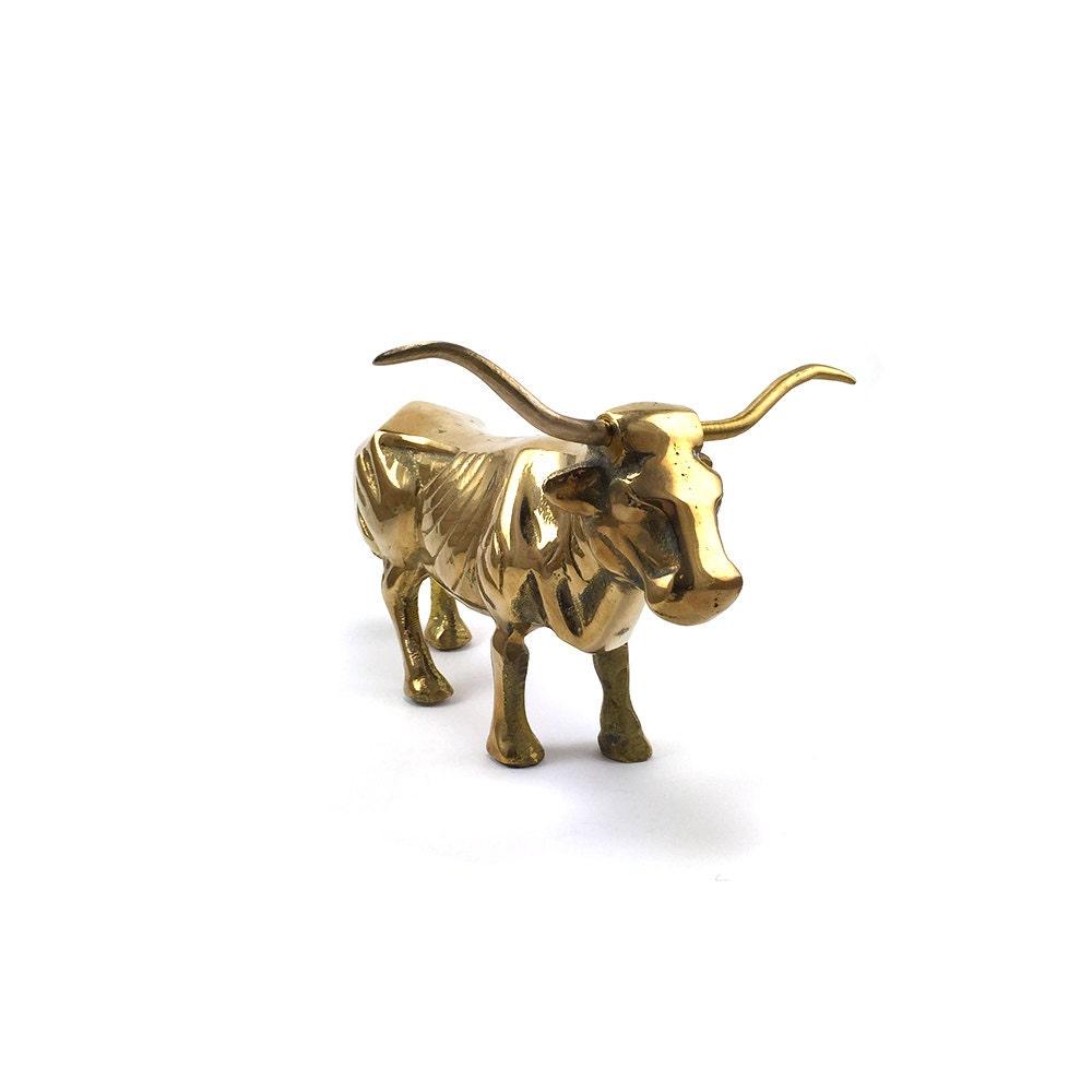 Vintage Brass Bull Figurine Statue Gold Steer Figurine Mid