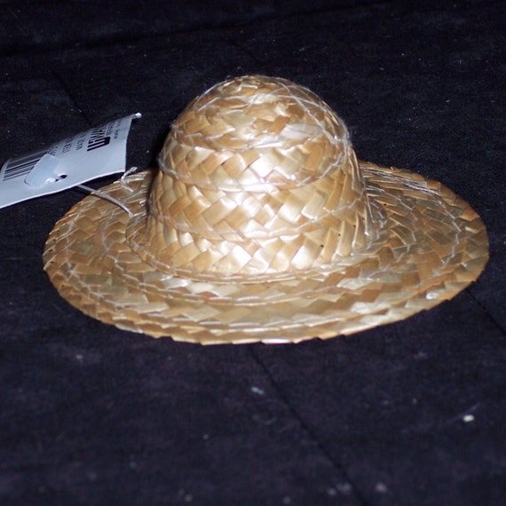 Items similar to set of 3 small straw hats 2 round top for Tiny top hats for crafts
