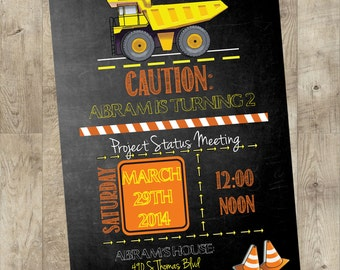 Construction Zone Birthday Invitation, Dump truck birthday party invite
