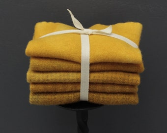 Mustard Gold Hand Dyed Wool Bundle for Rug Hooking and Wool Applique