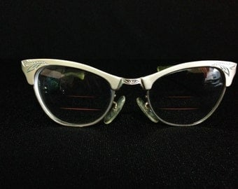 "Vintage 1950's Martin Copeland ""Ladies"" Aluminum Cat Eye Etched Eyeglass w/Frames (LDP1)"
