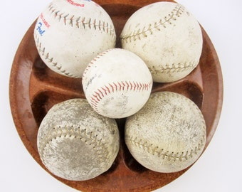 Five Leather Balls - Used Baseball and Four Softballs - Beat Up and Played With - Mix and Match With Glass and Ceramic - Wonderful Texture