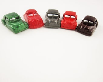 Five Small Celluloid/Plastic Coupes - Green, Red, Pewter, Brown -  Attachable - Game Pieces - Treasures - Inspirations - Vintage Cars