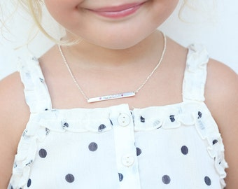 Children Necklace, First Bar Necklace, Name Bar with Birthstone, Silver Bar Necklace, Bar Necklace Silver, Baby Necklace, Daughter Necklace