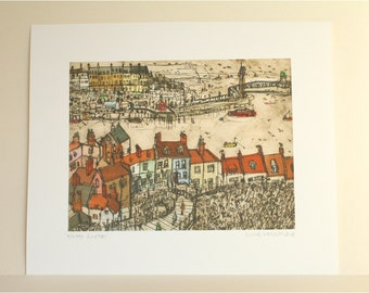 WHITBY ROOFTOPS PRINT, North Yorkshire Coast England Fishing Village, Signed Giclee Print, Whitby Art, Clare Caulfield 27.5 x 21cm