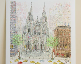 ST PATRICKS CATHEDRAL New York City Watercolor, Nyc Taxi, Saint Patricks New York Painting, Architecture Nyc, Manhattan, Clare Caulfield