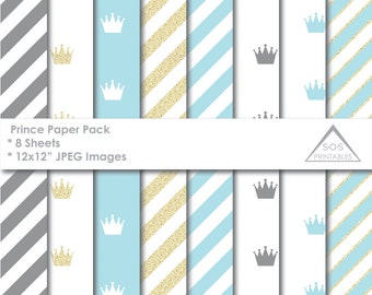 Prince Paper, Crown Paper Pack, Royal Paper, Gold Glitter Crown Paper, Digital Scrapbooking, New Baby, Baby Boy Paper, Little Prince Paper
