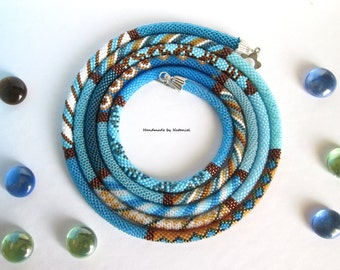 """Bead Crochet Necklace Lariat """"Spring heaven"""" long blue light blue white brown her gift made to order jewelry beaded style made to order"""