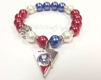 New York Giants Beaded Bracelet,Bracelet, Team Bracelet, Womens Charm Bracelet, Stretchy, Handmade Custom Beaded Jewelry