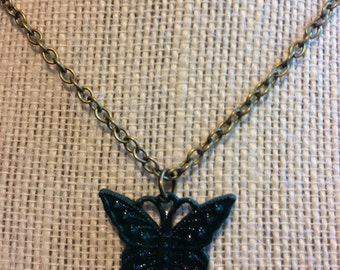 "18"" Dark Green Butterfly Necklace"