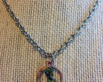 "14"" Pink/Green/Purple Yogi Mountain Pose Necklace"