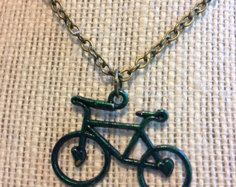 "14"" Forest Green Bicycle Necklace"
