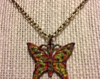 """20"""" Red-Speckled Butterfly Necklace"""