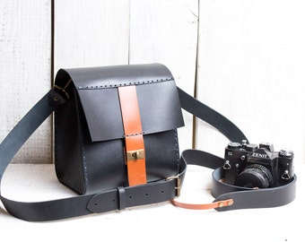 Camera bag + camera strap both with personalization. Black color with tan.