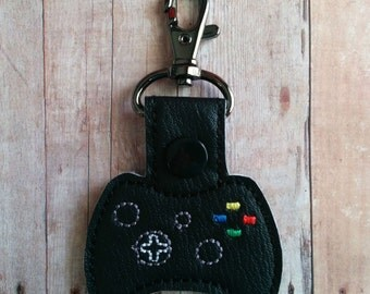 Video Game Controller Key Chain, Embroidered Black Vinyl with Snap, Made in USA, Gamer Key Fob, Secret Santa Gift, Video Game Key Chain