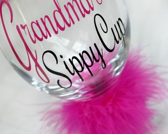 Grandma's Sippy Cup - Gramma's Sippy Cup - Wine Sippy Cup - Mommy Sippy Cup - Funny Wine Glass - Gag Gift Wine glass - Personalized Sippy