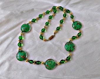 Venetian Glass Necklace Adventurine & Green Beads ca 1950s