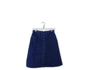 SALE!!Vintage  Blue Denim Snap Button Flare Skirt from 1970's/W27*