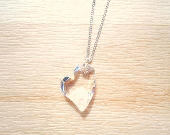 Crystal Clear Heart Necklace - Swarovski Crystal Necklace - 925 Silver Necklace - Crystal Heart Jewelry