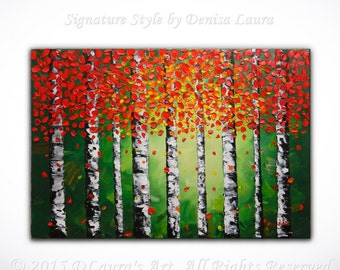 Contemporary ORIGINAL Abstract Modern Aspen Leaves Landscape Fine Art Bright Oil Palette Knife Painting 28x20 Canvas by Denisa Laura