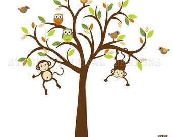 Monkey Wall Decals, Nursery Wall Decals, Boy Tree Wall Decal, Kids Room Wall Decals, Tropical Orange Design