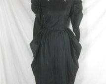 Vtg 40s 50s Black Womens Gothic Design Vintage Cocktail Party Dress W 28