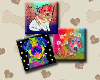 FUNKY DOGS -  Digital Collage Sheet 1 inch square images for pendants, earrings, decoupage, magnets etc. Instant Download #216.