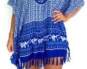 Ladies Kaftan Dress, Cobalt Africa Caftan Summer Dress with tassels - Loose Fitting Dress, Beach Throw-over