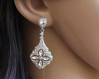 Bridal Crystal Earrings, Bridal Earrings Crystal, Vintage Style Bridal Earrings, Swarovski Dangle Earrings, Crystal Earrings, Wedding Studs