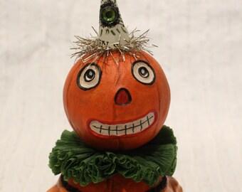 Halloween Pumpkin Vintage Style Prim Folk Art Doll # 4