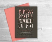 Printable Bachelorette  / Hens Party Invitation - Mimosa's & Manicures - Spa theme invites - Pink / Black, Coral or Mint