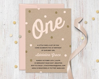 Pink Gold First Birthday Invitation - Faux Kraft and Gold Glitter - Confetti or sprinkle theme, polka dot, printable invites for girl party